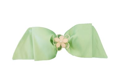 Susanne Lively Girls Hair Bow to Match Dress - Green with Pink Flower