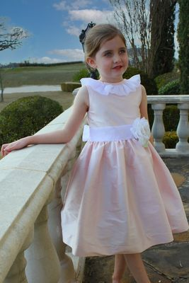 Susanne Lively Girls Special Occasion Dress - Pink with White Sash