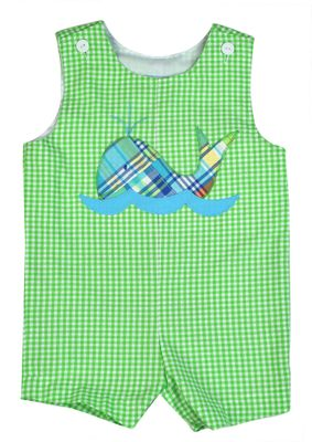 Funtasia Too Baby / Toddler Boys Lime Green Shortall - Patchwork Whale