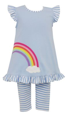 Claire & Charlie Girls Blue Rainbow Tunic with Striped Leggings