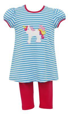 Claire & Charlie Girls Blue Unicorn Tunic with Hot Pink Leggings