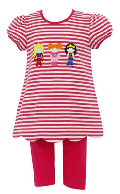 Claire & Charlie Girls Hot Pink Striped Super Heroes Tunic with Leggings
