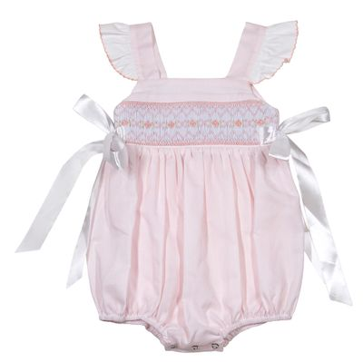 The Best Dressed Child Baby / Toddler Girls Smocked Bubble - Flutter Sleeves & Side Bows - Pink