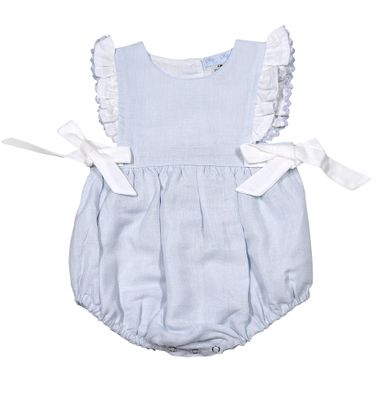 Me Me Baby / Toddler Girls Linen Blend Ruffle Bubble with Bows - Blue