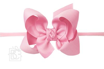 """Girls 1/4"""" Pantyhose Headband with Attached Bow - Grosgrain - Hot Pink"""