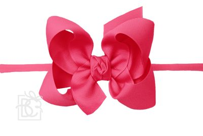 """Girls 1/4"""" Pantyhose Headband with Attached Bow - Grosgrain - Fuchsia"""