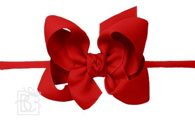 """Girls 1/4"""" Pantyhose Headband with Attached Bow - Grosgrain - Red"""