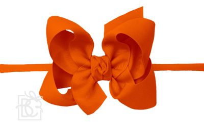 """Girls 1/4"""" Pantyhose Headband with Attached Bow - Grosgrain - Orange"""