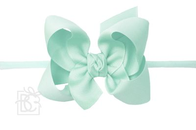 """Girls 1/4"""" Pantyhose Headband with Attached Bow - Grosgrain - Aquamarine"""