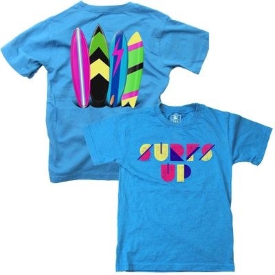Wes & Willy Boys Neon Blue Surf's Up Surfboard T-Shirt