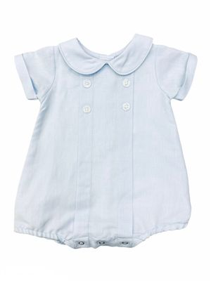 Me Me Baby Boys Linen Blend Pleated Bubble with Collar - Blue