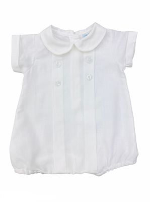 Me Me Baby Boys Linen Blend Pleated Bubble with Collar - White
