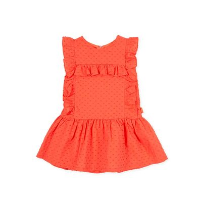 Tutto Piccolo Girls Ruffle Dress - Coral Dotted Swiss