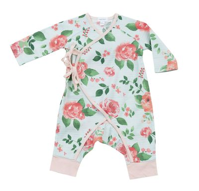 Angel Dear Baby Girls Aqua / Pink Rose Garden Wrap Coverall Romper