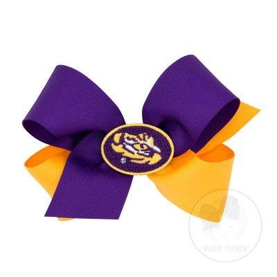 Wee Ones Girls Hair Bow - Collegiate - 2-Tone with College Patch - LSU Tigers