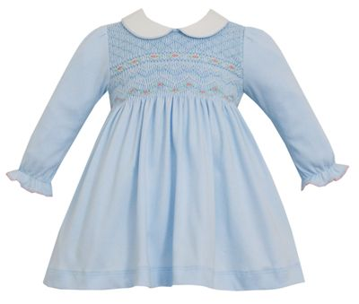 Petit Bebe Knits Toddler Girls Blue Knit Fully Smocked Dress with Collar - Long Sleeves