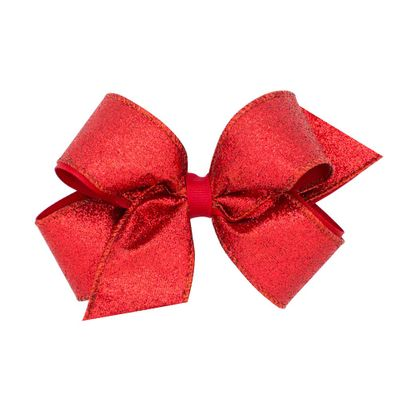 Wee Ones Girls Glitter Overlay Hair Bow - Red