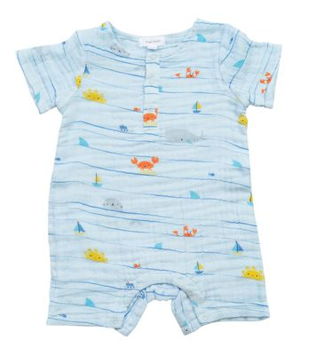 Angel Dear Baby Boys Blue Sea Stripes Henley Romper
