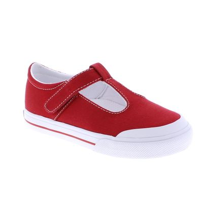 Footmates Girls Shoes - Drew Vulcanized Canvas Mary Janes - Red