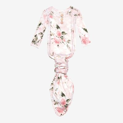 Posh Peanut Baby Girls Knotted Gown - Vintage Pink Rose Floral