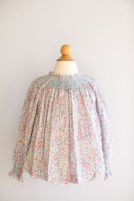 Peggy Green Girls Addison Blouse - Chickering Floral with Blue Smocking