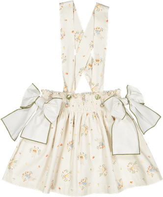 Sal & Pimenta Girls Overall Skirt with Bows - Bunny Carrot Stealers