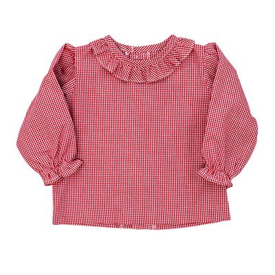 Bailey Boys Girls Red Check Piped Blouse with Ruffle