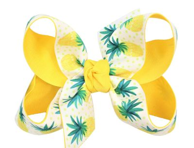 Girls Grosgrain Double Knot Bow on Clip - Yelow / Green Pineapple