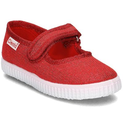 Cienta Shoes Girls Metallic Mary Janes - Red Sparkle