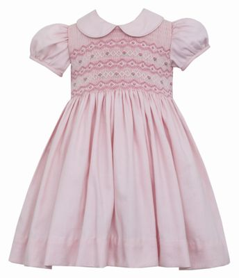 Anavini Girls Pink Dress with Collar - Smocked Bodice - Smocked Waist in Back!
