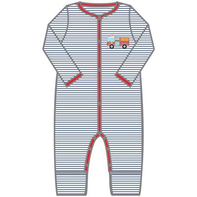 Magnolia Baby Boys Hook and Ladder! Firetruck Playsuit Romper - Long