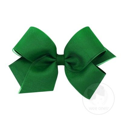 Wee Ones Girls Organza Overlay Grosgrain Bow - Forest Green