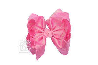 Beyond Creations Girls Double Knot Bow on Clip - Silk Ribbon - Pink