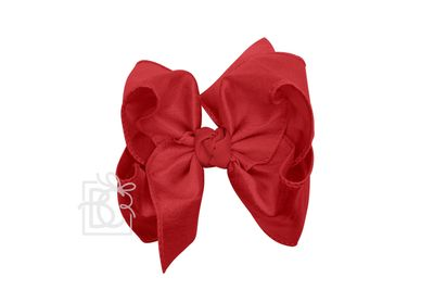 Girls Double Knot Bow on Clip - Silk Ribbon - Cranberry