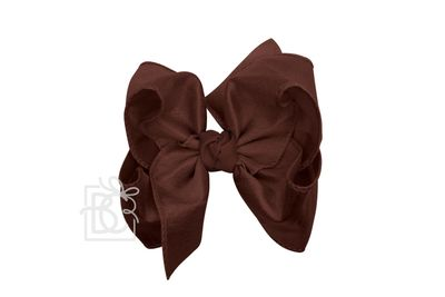 Beyond Creations Girls Double Knot Bow on Clip - Silk Ribbon - Burgundy