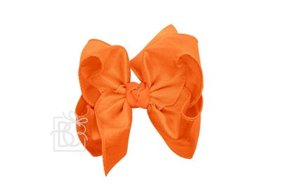Girls Double Knot Bow on Clip - Silk Ribbon - Orange