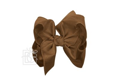 Beyond Creations Girls Double Knot Bow on Clip - Silk Ribbon - Turftan Brown