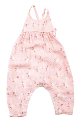Angel Dear Baby Girls Peachy Pink Unicorns Tie Back Romper