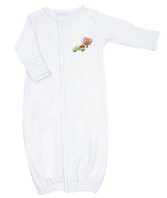 Magnolia Baby Boys Green Fall Farm Tree & Truck Embroidered Converter Gown
