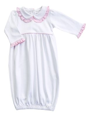 Magnolia Baby Girls Lia and Luca's Classics White Gown - Pink Trim