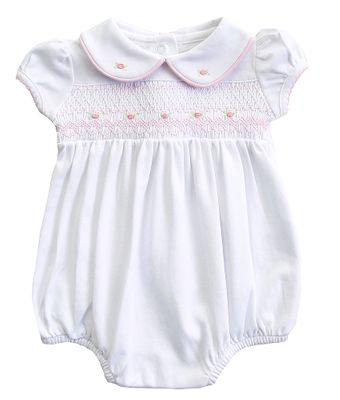Magnolia Baby Girls Lia and Luca's Classics White Bubble - Smocked in Pink