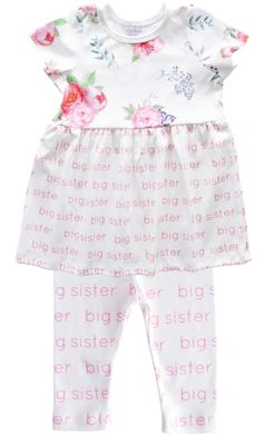 Little Girls Big Sister Dress with Leggings - Pink Peony Floral