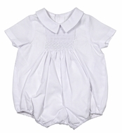 Luli & Me Baby Boys Batiste Smocked Bubble with Collar - White