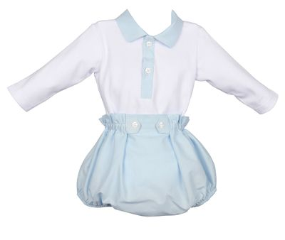 Luli & Me Baby Boys Blue Britches & Bodysuit Set
