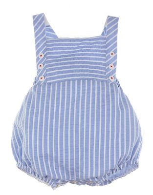 Luli & Me Baby / Toddler Boys Blue Striped Bubble with Buttons