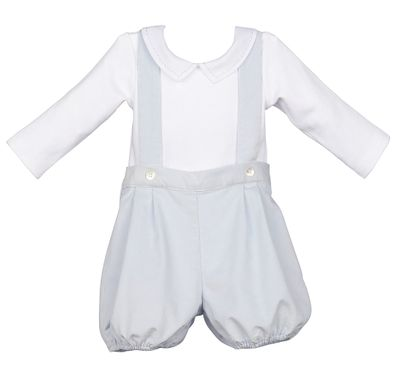 Luli & Me Baby Boys Blue Suspender Shorts with Shirt
