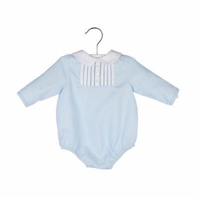 Luli & Me Baby Boys Bubble - Light Blue with White Pleats