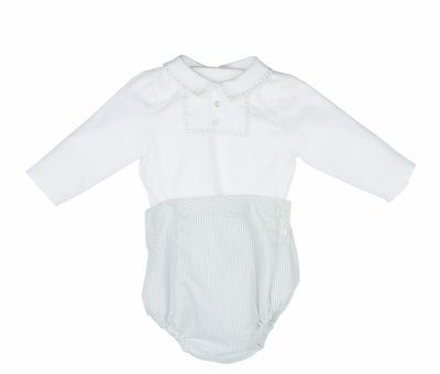 Luli & Me Baby Boys Green Striped Embroidered Bubble Set