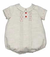 Luli & Me Baby Boys Grey Bubble with Red Embroidery