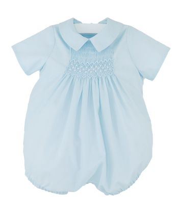 Luli & Me Baby Boys Smocked Batiste Bubble with Collar - Blue
